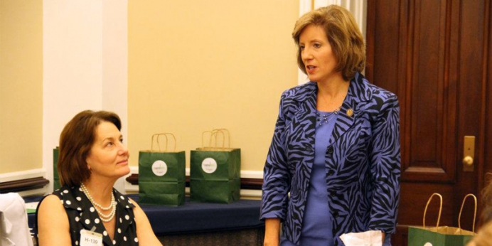Rep. Vicky Hartzler (right) with Heartbeat International President Peggy Hartshorn, Ph.D. at Heartbeat's Babies Go to Congress event in 2012.